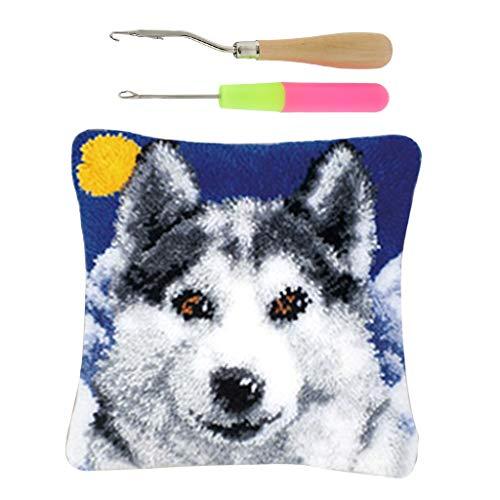 SM SunniMix Wolf Pattern Latch Hook Rug Kits with 2pcs Latch Hooks, Beginners Kids Adults are Suitable 2 Latch Hook Pattern