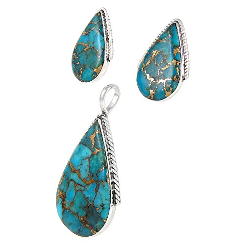 Turquoise Pendant & Earrings Set in 925 Sterling Silver with 20'' Chain (Pendant+Earrings+Chain) by Turquoise Network (Image #2)