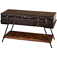 Target Marketing Systems Vintage Trunk Style Living Room Coffee Table With Lift Top Storage and Bottom Shelf, Brown