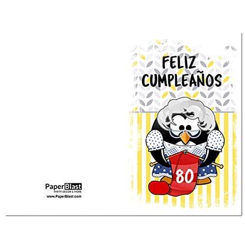 Amazon.com: Penguin Feliz Cumpleanos 80th Birthday Card in ...