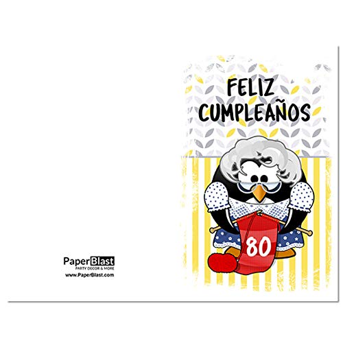 Penguin Feliz Cumpleanos 80th Birthday Card In Spanish