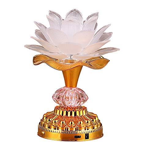 Omeet 7 Colorful LED Lotus Buddhist Lamp, Buddha Lotus Light, Buddhist Supplies - ()