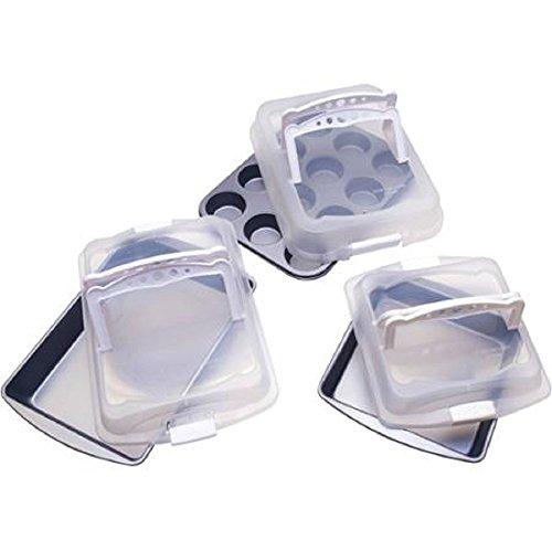 BakerEze Non-Stick 6-Piece Covered Bakeware Set with Handles, Gray ()