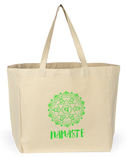 Weekend Patchwork Tote (Shopping Tote Bag - Yoga Gift - Namaste with Heart Chakra - 15