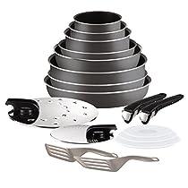 Tefal Ingenio Essential - Set de 8 piezasde aluminio con mango extraíble, sartenes de 22, 26 y 28 cm + Wok de 24 cm + cazos de 16,18 y 20 cm + 2 tapas inox + 2 espátulas + 2 mangos intercambiables