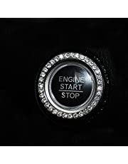 2 Pack Auto Start Engine Ignition Key & Button,Bling Car Decor Crystal Bling Ring Car Decal Emblem, Crystal Rhinestone Car Engine Start Stop Decoration Ring - Decorative Decal Unique Silver Sparkly