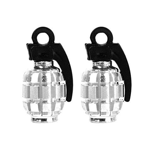 2pcs couvertures / bouchons anti-poussières de valve de pneu de vélo en forme de grenade en métal- Argent