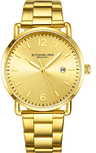 Stuhrling Original Analog Watch Yellow Gold Plated with Gold Dial - Vintage Style 38mm Case and Lugs with Date - 3901 Dress Watches for Men Collection