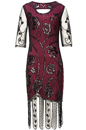 BABEYOND 1920s Flapper Dress Beaded Gatsby Dress Roaring 20s Sequins Dress Vintage Art Deco Dress with Sleeves (Black & Wine Red, L)
