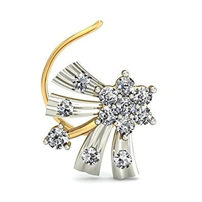 Belle Diamante 18KT Yellow Gold and Diamond Nose Pin Women's Nose Pins at amazon