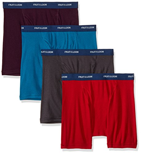 Low Mens Brief Rise Underwear (Fruit of the Loom Men's Low Rise Boxer Brief - Colors May Vary, Assorted, Large(Pack of 4))