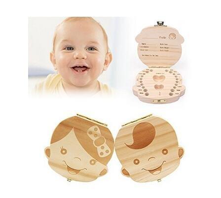 CozyCabin Baby Teeth Box, Cute Wood Baby Teeth Storage Box Delicious Souvenir Teeth Saver Box for Kids Boy&Girl (English, Girl)