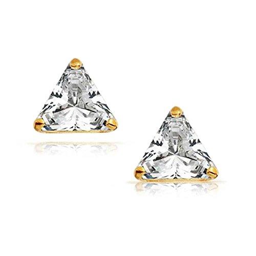 Bling Jewelry Boucles d'oreille petits triangles a cristaux pour Homme en Plaqué Or