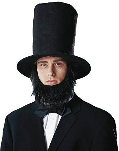 OvedcRay Black Abe Abraham Lincoln Costume Tall Stove Pipe Top Hat And Beard Set