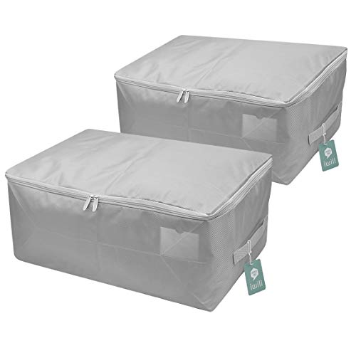 iwill CREATE PRO Househould Foldable Breathable Soft Garment Storage Bag, Light Gray, Pack of 2