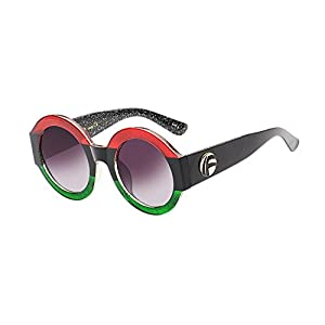 UV- Oversized Round Sunglasses Women Multi Tinted Frame,Fashion Trend Sunglasses(red green frame)