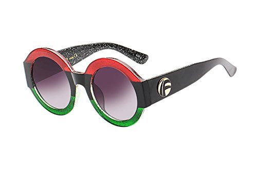 UV- Oversized Round Sunglasses Women Multi Tinted Frame,Fashion Trend Sunglasses(red green - Face Best Glasses Round