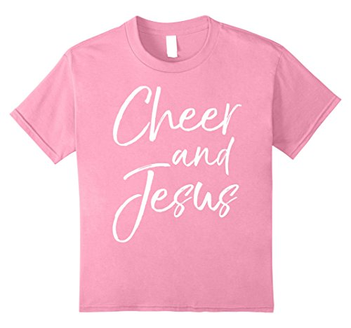 Kids Cheer and Jesus Shirt Christian Cheerleader Cheerleading Tee 10 (Cheer T-shirt Designs)