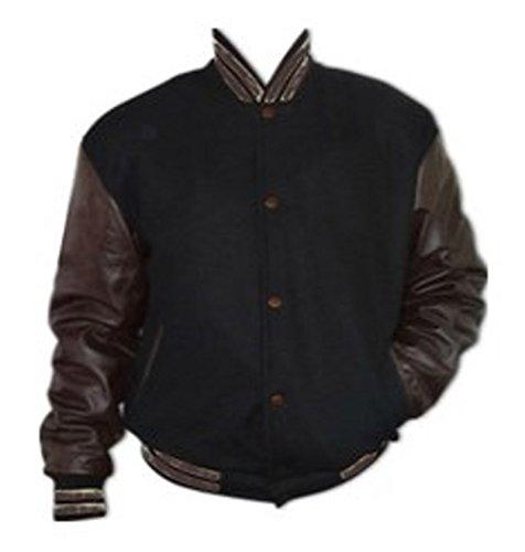 Ärmel Original XXXL Echtleder braunen Jacke mit College Schwarz Windhound Fx0nUaaS