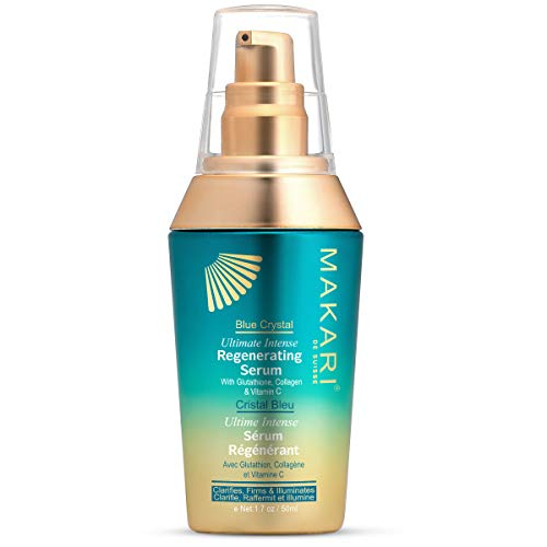 Makari Blue Crystal Regenerating Serum 1.7oz - Lightening, Brightening & Tightening Body Serum with Natural Glutathione - Anti-Aging, Lightens Dark Spots And Blemishes For Even-Toned Radiance (Maximum Radiance Exfoliating Gel)