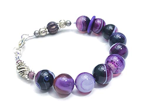 Striped Agate Abacus Counting Bracelet