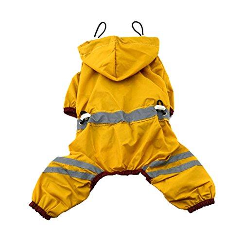 Pet Raincoat Clothes Puppy Glisten Bar Hoody Waterproof Rain Jackets (XXL, Yellow)