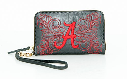GAMEDAY BOOTS NCAA Alabama Crimson Tide Women's U of Alabamau Wristlet, Black, 8 x 5 1