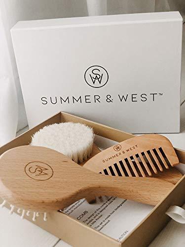 Natural Wooden Baby Brush and Comb Set - Premium Baby Brush Set - Newborn and Toddlers