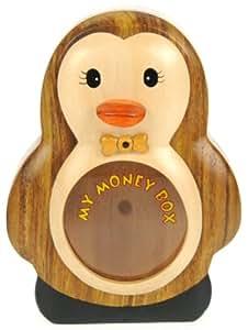 Pingüino Piggy Bank: Hucha con cerradura secreta: Madera Artesanal: Alta Calidad Tradicionál Navidad Regalo Para los muchachos, para las muchachas, para él, para ella, para los niños y para los adultos! 4 diseños (Tamaño 17x12x5.5cm)