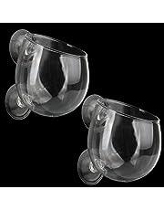 Senzeal 2X Crystal Glass Aquatic Plant Cup Pot with 4X Suction Cups for Fish Tank Aquarium Aquascape