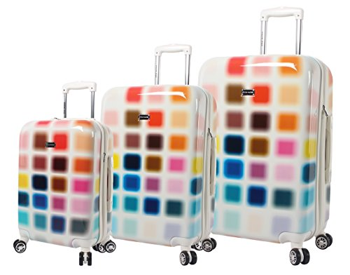 Steve Madden Cubic Luggage 3 Piece Hardside Suitcase With Spinner Wheels