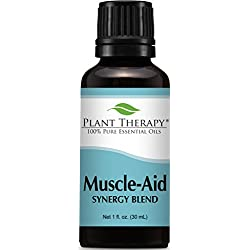 Plant Therapy Muscle Aid Synergy Essential Oil Blend. 100% Pure, Undiluted, Therapeutic Grade. Blend of: Wintergreen, Camphor and Pine. 30 mL (1 Ounce).