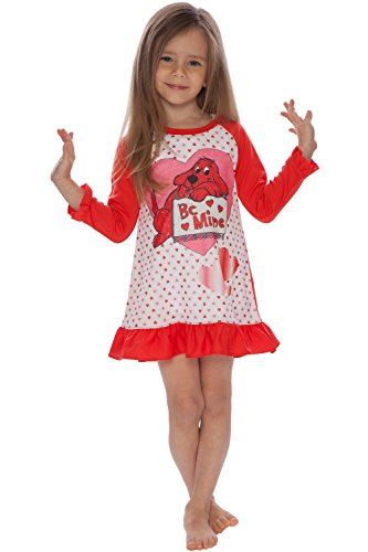 Clifford Girls' Toddler Mine' Valentines Day Pajama Nightgown, red 2T ()