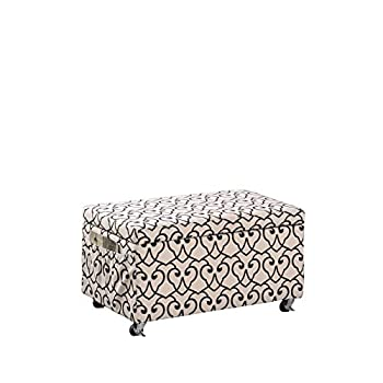 Image of Craft & Sewing Supplies Storage 17' Beige Moroccan Heart Black Stencil Storage Bench SEAT W/Side Pockets and Industrial Caster Wheels