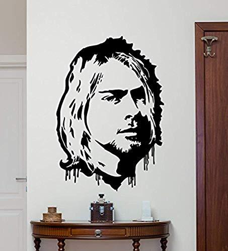 Kurt Cobain Wall Decal Grunge Nirvana Vinyl Sticker Rock Star Singer Music Studio Decal Rock Wall Art Design Housewares Teens Room Nursery Bedroom Decor Removable Wall Mural 71QQ ()