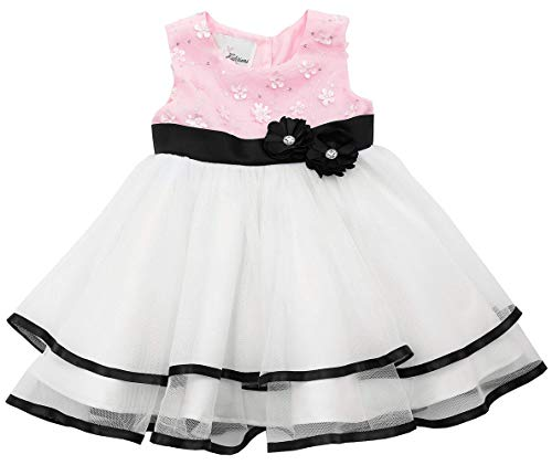 Rare Editions Baby Girls 3M-24M Pink/White Sequin Flower Tier Mesh Social Party Dress (24 Months, Pink)