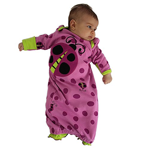 Sozo Baby-Girls Newborn Snug As A Bug Gown and Cap Set, Pink/Fuchsia/Green, 0-6 Months