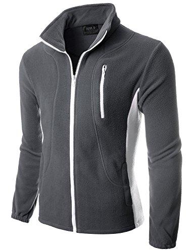 Doublju Mens Colorblock Long Sleeve Front-Zip Lightweight Fleece Jacket CHARCOALWHITE,S
