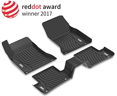 3W Floor Mats for Mercedes Benz C-Class (2016-2019) - Front and Rear Heavy Duty Custom Fit Floor Mats Liner All Weather with Odorless TPE, Black