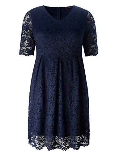 Chicwe Women's Plus Size Elegant Scalloped Lace Dress – Cocktail Evening Event Dress Eclipse Navy 2X