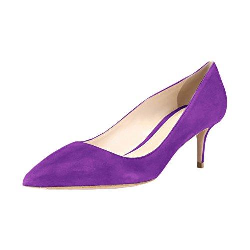 bc0a6cbd1a2 VOCOSI Women's Slip On Kitten Heels Pointed Toe Suede Dress Pumps S-Purple  8.5 US