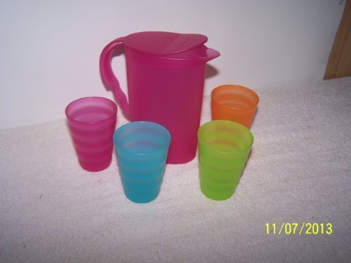 (Tupperware Mini Kids Impression Pitcher With Multi-Colored Tumblers)