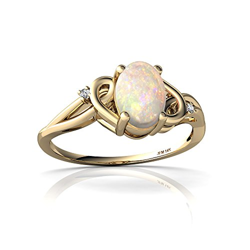 14kt Yellow Gold Opal and Diamond 7x5mm Oval Swirls Ring - Size 7 by Jewels For Me