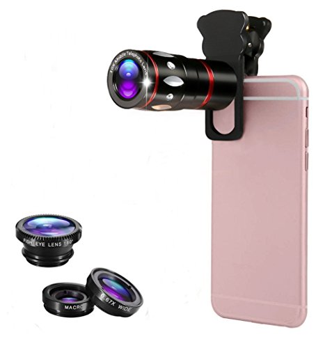 HeQiao Cell Phone Lens Attachments, Universal Cell Phone Camera Lens Clip-on 10X Zoom Telephoto Lens + Fish Eye Lens + Wide Angle Lens + Macro Lens Kit Set for Smart-phones Tablets (Elegant Black)