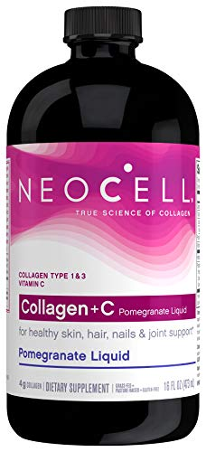 NeoCell Collagen +C Pomegranate Liquid, 4g Collagen Types 1 & 3 Plus Vitamin C, Healthy Skin, Hair, Nails and Joint…
