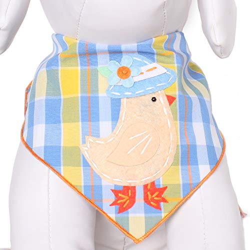 Tail Trends Easter Dog Bandanas with Easter Chick on Plaid Design Fits Medium to Large Sized Dogs - 100% Cotton