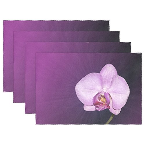 QYUESHANG Flower Blossom Bloom Orchid Pink Filigree Placemats Set Of 4 Heat Insulation Stain Resistant For Dining Table Durable Non-slip Kitchen Table Place Mats