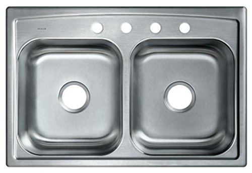 - KOHLER Toccata Drop-In Stainless Steel 33 in. 4-Hole Double Bowl Kitchen Sink