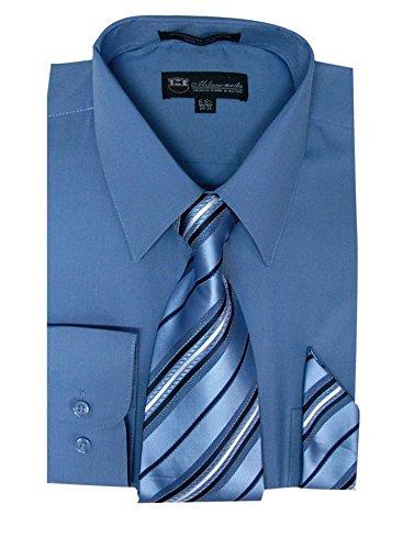 Milano Moda Men's Long Sleeve Dress Shirt With Matching Tie And Handkie SG21A-DenimBlue-17-17 1/2-34-35 ()