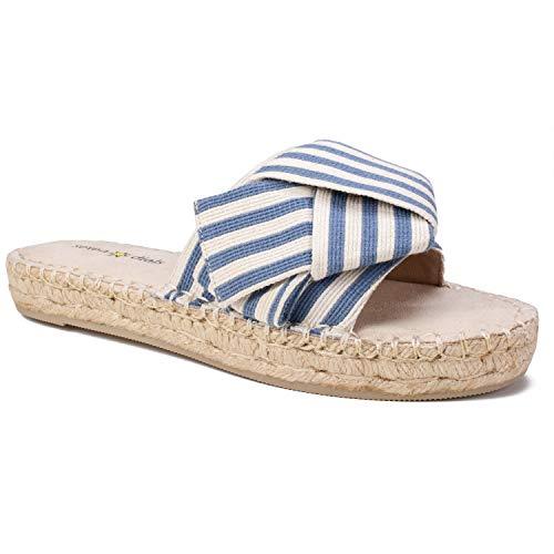 Blue Striped Fabric - SEVEN DIALS Women's Wagner Espadrille Wedge Sandal, Dark Blue//Striped/Fabric, 8 M US
